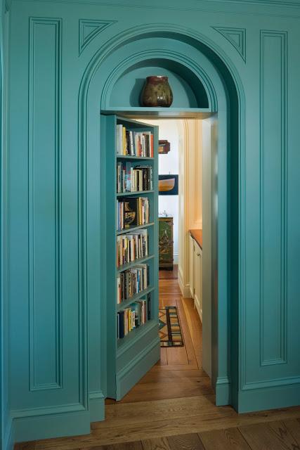 house-on-penobscot-bay-library-bookshelf-secret-door-doorway-blue